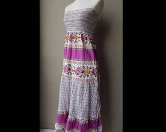 ON SALE Hippy Stretchy Smocked Sleeveless  Summer Sundress Dress Size S