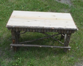 Rustic Cedar Coffee Table Maine Handcrafted Log Home Furniture