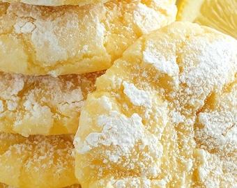 Lemon Crackle Cookies, Lemon Drop Cookies, Homemade Baked Goods, Butter Cookie, Edible Food Gift