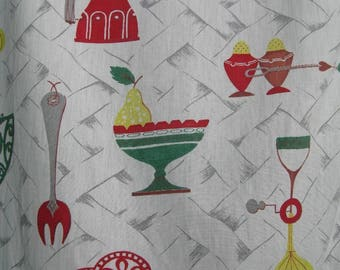 Pair of Vintage Kitchen Curtains with Valances, Kitchen Utensils Print, Cotton Fabric, 1950s-60s