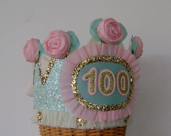100th Birthday Party Crown, 100th birthday party hat, adult birthday party hat, customize with any number