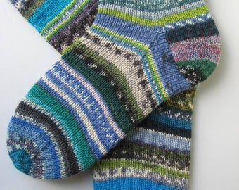 blue green crazy socks, hand knitted womens wool socks, UK 4-6 US 6-8, fun wool socks, mismatched socks, bright striped socks