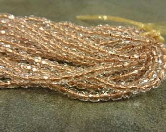 Copper Lined Crystal Czech Glass Firepolish Beads 4mm Faceted Glass 50pc