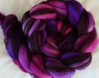 "Hand Dyed BFL Humbug Combed Top ""Berries""  4Oz."