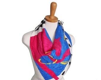 50% half off sale // Vintage 80s Art Institute of Chicago Designer Silk Scarf - Vincente Minetti Design