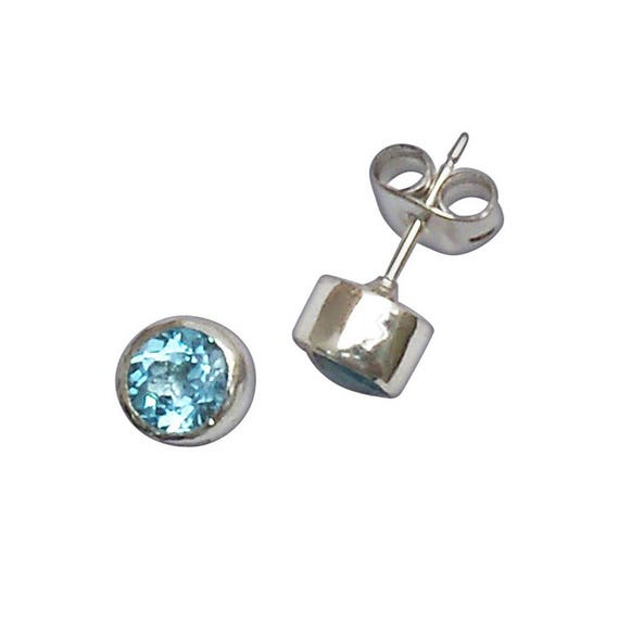 Faceted Blue Topaz and Sterling Silver Post Earrings  etpzd2949