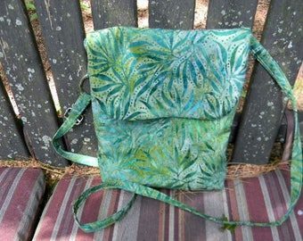 Green Batik Cross Body Bag with Adjustable Strap