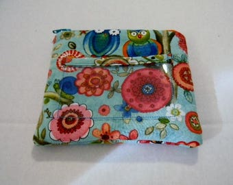 Turquoise Owls and Flowers Zipper Change Purse w/ ID pocket