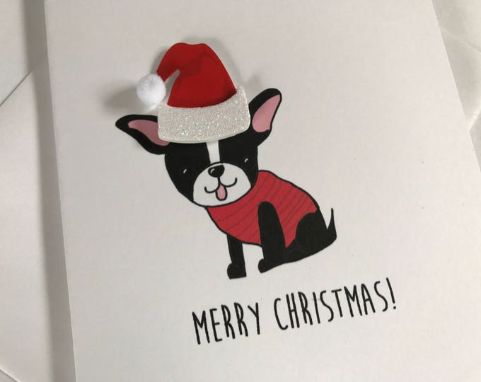 Boston Terrier Christmas Card, Merry Christmas from the Boston Terrier, From the Dog, made on recycled paper, comes with envelope and seal