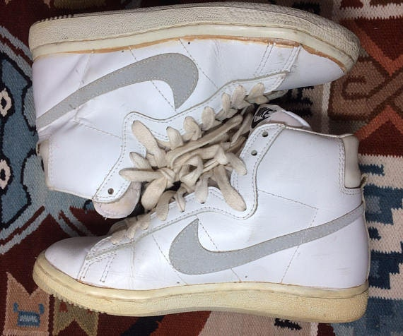 1983 Nike Penetrator leather hi top sneakers white gray swoosh size 7.5