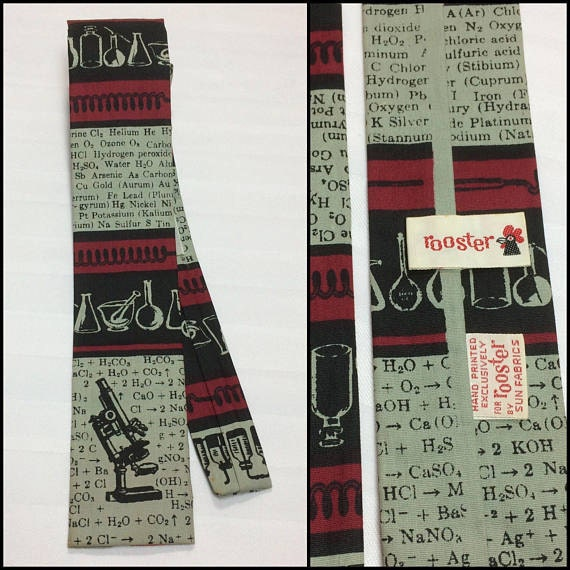 1960s Rooster science lab microscope novelty skinny tie