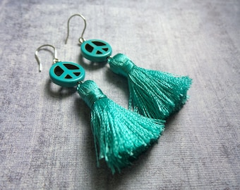 Peace Sign Earrings, Summer Earrings, Summer Outdoors, Summer Party, Tassel Earrings, Peace Sign Earrings, Blue Tassels, Boho Earrings