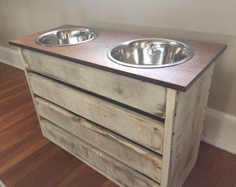 Extra Large Dog Feeder/Elevated Stand/White Distressed/Stained Lid