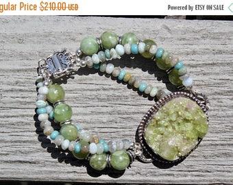 15% off SALE Vasuvianite with Peruvian Opals, triple strand bracelet on sterling silver by EvyDaywear