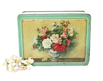 Vintage Tin Candy Box  /  Hinged Container /  Mint Green and Gold with Flowers  /  Waller and Hartley LTD Candy Makers  /  Blackpool England