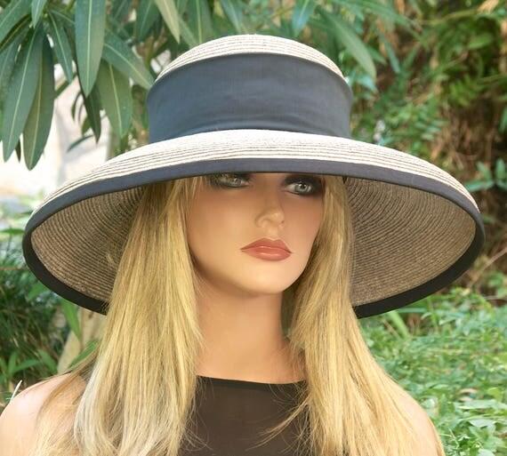 Taupe Derby Hat, Straw Wide Brim Hat. Wedding Hat, Church Hat, Formal Hat. Ascot Hat, Women's Gray Taupe Hat, Elegant Hat