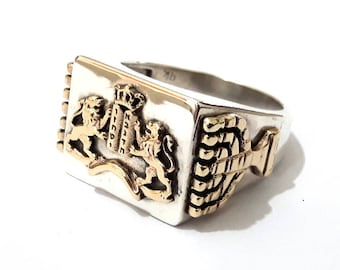 Lion of Judah 925 Silver 9k Gold Ten Commandments Menorah Jerusalem Ring