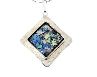 Stunning Hand Made 925 Silver Roman Glass Pendant Necklace Best Quality