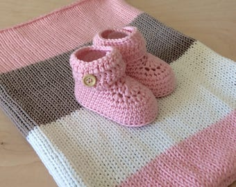 Pink Crochet Baby Blanket Merino Wool Crochet Baby Booties Baby Shoes Knitted Stroller Blanket Newborn Girl Baby Gift by Warm and Woolly
