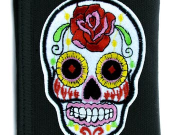 White Sugar Skull Tri-fold Wallet w/ Chain Day of the Dead Calavera Clothing - YDS-PA-WSGS-Wallet