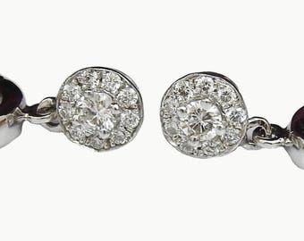 Ready to be Shipped within 3 days SALE White gold Diamond Halo Drop Earrings 14K