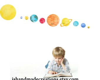 Planet Kid Solar System Wall Decal Fabric Wall Decal  Watercolor Planets planets kids art