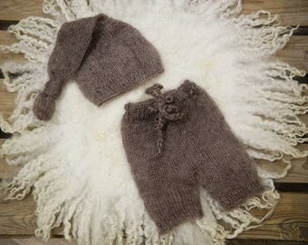 Toffee Brown Mohair Knot Hat and Shorts Set Newborn Baby Photography Prop