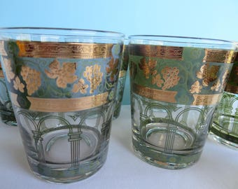 Vintage Cera Rocks Glasses - Green and Gold - Mid Century Barware