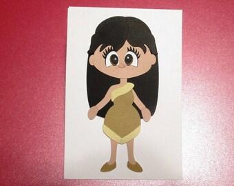 Paper piecing Princess Pocahontas, die cuts, embellishment