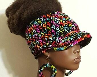 Multi Colored Top Bun Crochet Baseball Cap with Earrings by Razonda Lee Razondalee