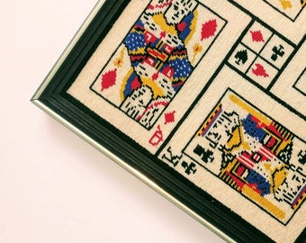 Vintage Needlepoint Playing Cards Framed Wall Art Hanging Needlework Kings & Queens Hearts Spades Clubs Diamonds Game Room Decor