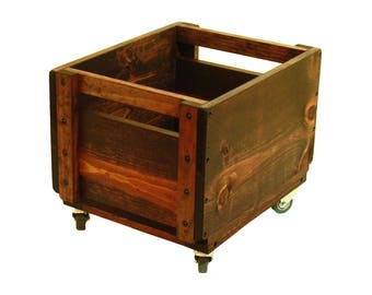 Rolling Wood Crate, Wooden Box on Wheels, Mobile Storage Bin, Wheeled Wood Crate, Rolling Wooden Box,