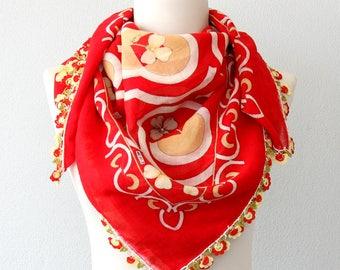 Red Turkish scarf traditional yemeni scarf crochet lace scarf handmade oya head scarf cotton gauze scarf summer shawl  mini pareo head scarf