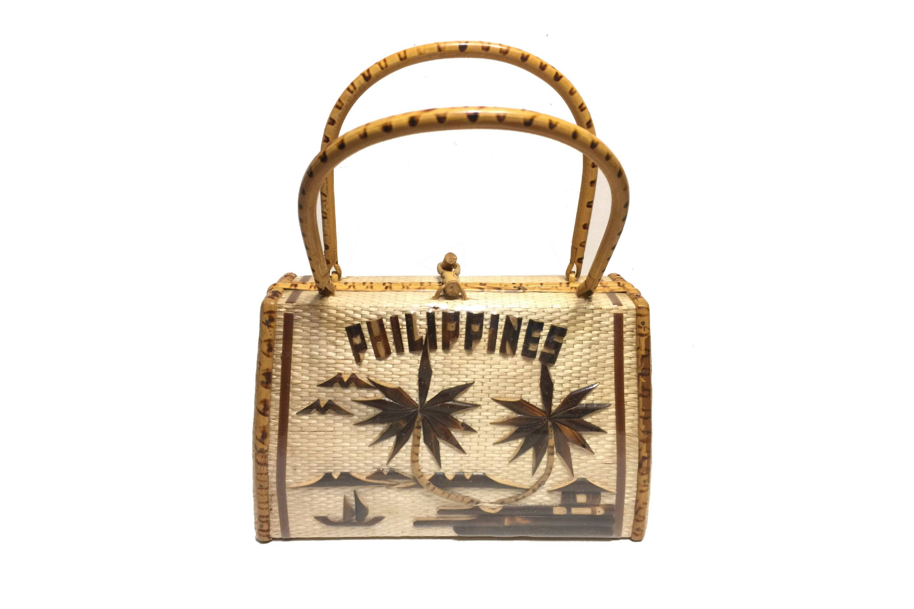 Vintage Purse Philippines Box Style With Wooden Handles Amp Wood