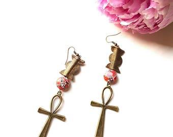 Eygptian cross earrings//Brass ankh dangle earrings//  Pink gemstone ankh earrings// African jewelry ankh earrings//The Diaspora No 5