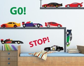 Race Car Wall Decal,  Nursery Wall Decal, Reusable Decal Non-toxic Fabric Wall Decals for Kids, WD45