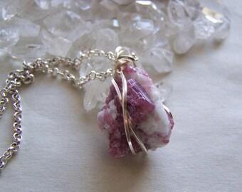 Pink Tourmaline Rubellite in Quartz Rough Crystal Pendant