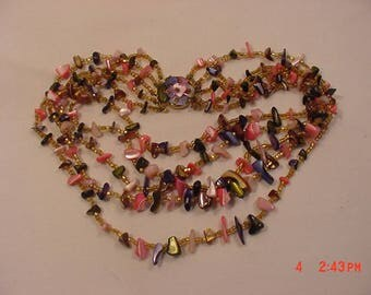 Vintage Polished Glass & Beads Five Strand Necklace  18 - 234