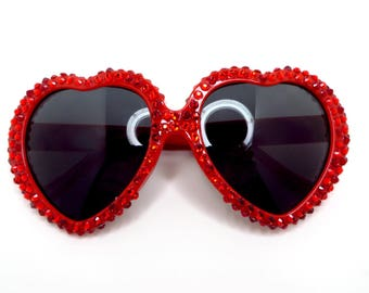 Red Heart Shaped Sunglasses With Red Rhinestones