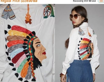 On SALE 45% Off - 1960s Novelty Native American Indian First Nations Chief Teepee Embroidered White Button Up Western Women's Blouse Top  -