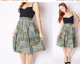 FLASH SALE - Vintage 1950s Skirt - 1950s Cotton Skirt - Vintage 50s Circle Skirts - Vintage Moroccan Skirt - 2547