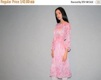 FLASH SALE - Vintage 1980s Pastel Pink Silk Sheer Dress   - Vintage  Pastel 80s Dresses  - Vintage Pastel  Dresses  - W00357