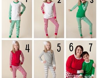 Christmas PJ PREORDER, Christmas Pajamas, Family PJs, Matching Christmas PJs, Christmas PJs, Red, Green, Doll, Baby, Polka Dot