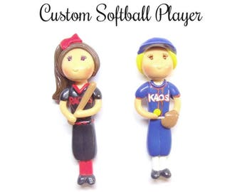 Custom Softball Player Batter Pitcher Ornament, Pendant, Bow Center, Brooch, Magnet, Purse Charm, Necklace, Cold Porcelain Clay Figurine