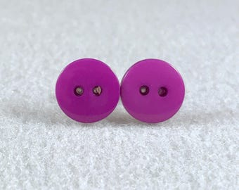 Purple stud earrings, button
