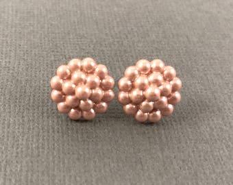 Button earrings, stud earrings, faux pearl cluster earrings