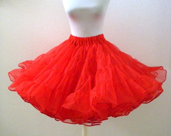 Vintage Cherry RED Crinoline - Super Full Red Nylon and Netting Crinoline Petticoat - Square Dance Crinoline - Size Small - Vintage Lingerie