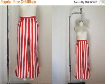 20% off SALE vintage 1960s pants - CARNIVAL red & white striped wide leg pants / M