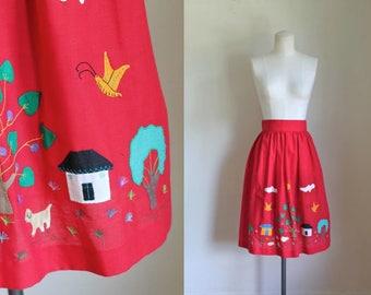 "vintage 1960s skirt - MY VILLAGE applique red skirt / XS 25"""