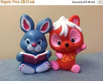 CLEARANCE 1980s Rubber Squeaker Toys - Bunny and Bear Cute Animals Colorful Love Kids Toys